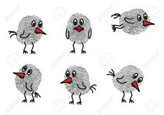Picture of funny drawn birds with a fingerprint stock photo, images and stock photography. Finger Painting, Dot Painting, Thumbprint Crafts, Fingerprint Cards, Thumb Prints, Footprint Art, Handprint Art, Rock Art, Doodle Art