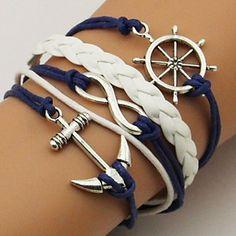 Anchor And Rudder Leather Bracelet