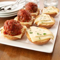 Meatball Sliders Try this down-sized version of the traditional meatball sub – great for a fun dinner or an appetizer party.