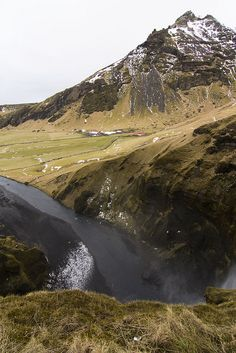 view from top of skogafoss in Iceland >>>>>>> this place looks amazing