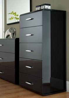 High Gloss Bedroom Furniture Designed In Grey Drawer With Black Accents Also Steel Handles Exciting Shinny Fin