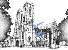Lahore Cathedral, Lahore. Pen and ink sketch on pastel sheet, drawn with a 0.1mm rapido.  By: Zehra Naqavi (Architect/artist)  Year: 1997