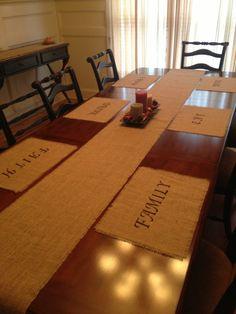 Burlap Table Runner - Burlap Runner & customized placemats.