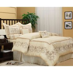 With a modern edge and an abundance of style, this Vivian comforter set is an ideal way to dress up any bedroom decor. With a lovely embroidered design, this comforter set will transform your bedroom into a restful escape.
