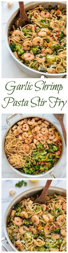 Healthy Garlic Shrimp Pasta Stir Fry. An easy and healthy dinner recipe, perfect for nights when you don't feel like cooking. Healthy Food Recipes