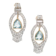 1940s Aquamarine Diamond Gold Platinum Dangle Earrings  1