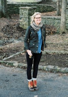 I love the combination of the boots with the utility jacket and comfy scarf