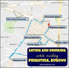 Eating and Drinking while Visiting Prishtina, Kosovo Map