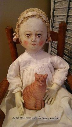 Folk Art primitive painted cloth doll-antique shoes dress & litho cat ATTICBABYS #NaivePrimitive