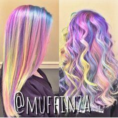 Rainbow hair pastel
