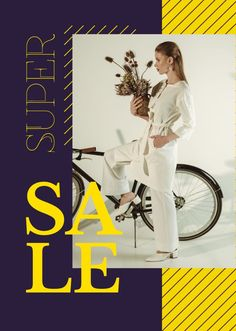 Clothes Sale Young Attractive Woman by Bicycle — Create a Design Creative T Shirt Design, Edit Online, Sale Poster, Marketing Materials, Clothes For Sale, Flyer Design, Ecommerce, Shirt Designs, Bicycle