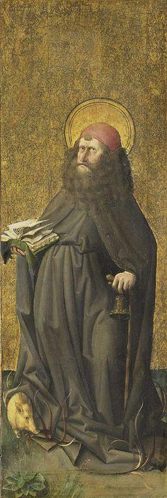 De heilige Antonius de Heremiet, omgeving van Meester E.S., ca. 1460, olieverf op paneel, h 68,5cm × b 22,5cm