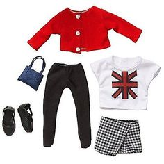 "18"""" Doll Fashion Outfit - Union Jack T-Shirt, Red Cardigan, & Houndstooth . in Dolls & Bears,Dolls,Other Dolls 