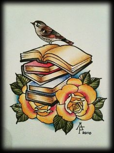 Books and roses - painting by Antony Flemming. I have been tattooed by this gent and can highly recommend him!