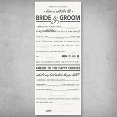 Wedding Ad Libs Card by delightboutique on Etsy, $1.00