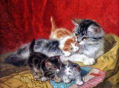 Mother Cat & Kittens ~ Henriette Ronner Knip ~ Cross Stitch Pattern #StoneyKnobFarmHeirlooms #Frame