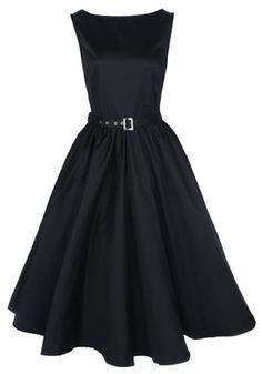 NEW CLASSY AUDREY VINTAGE BLACK 1950's ROCKABILLY SWING EVENING DRESS HEPBURN