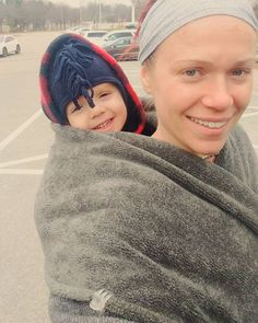 I love that my #wintercoat IS my #BabywearingCoat! Especially on days like today when I'm not willing to walk at a two-year-old's pace in the cold, I just stop, toss him in his #babycarrier and continue along. #NoFliesOnUs 😁   #LayerYourLove #Babywearing & #Maternity #Custom #Coat