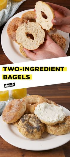 Two-Ingredient Bagels are the breakfast hack you never knew you needed. Get the recipe at Delish.com. #recipe #easyrecipe #bagels #hacks #foodhacks #breakfast #brunch #creamcheese #baking #easy