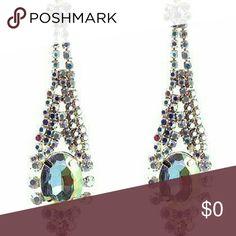 "Rhinestone AB Dangle Post Earrings AB Rhinestone Dangle Post Earrings. Great Sparkle and Shine! 3"" long. Gold metal tone, Ab Gemstones and AB Rhinestones. Very Light weight, plastic body.  POST earrings. Life by Design  Jewelry Earrings"