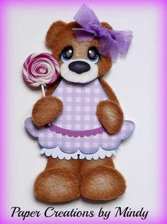 ELITE4U Candy Fleece Tear Bear premade paper piecing scrapbooking page purple ~ DT Mindy