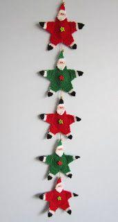 Santa garland, pattern found on : http://www.freevintagecrochet.com/christmas/santa-claus-star.html
