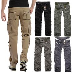 This pair of cargo pants featuring military styling, multi-pockets and straight cut is the best choice for the season. It is a comfortable casual pant designed for outdoor activities and relaxing weekends. | eBay!