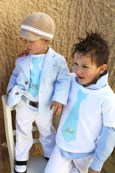Children Clothing, 2 Personalized items. Big Brother Tie T-SHIRT & Little Brother Tie ONESIE. Back to School, Baby Boy, Wedding, Ring Bearer. $48.00, via Etsy.