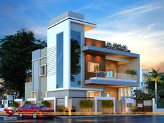 Trendy Exterior Home Design Small Facades Ideas House Outer Design, Bungalow House Design, House Front Design, Modern House Design, 2bhk House Plan, Duplex House Plans, Latest House Designs, House Elevation, Building Elevation