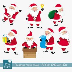 Santa Claus - Digital Clipart Scrapbooking - Kartendesign, Einladungen, Aufkleber, Papier Handwerk, Web-Design - INSTANT DOWNLOAD