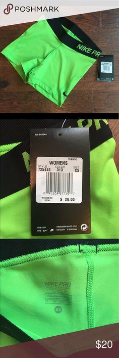 Women's Nike Pro Bright Green Shorts NWT - Women's Nike Pro Shorts - Size XS - Bright Green Nike Shorts