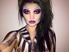 Girl beetle juice makeup body paint