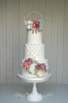 Boho Love Wedding Cake | A tier of macrame and 3 hoops of ru… | Flickr