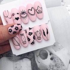 We love nails! Crazy Nails, Love Nails, Pretty Nails, Nail Manicure, Diy Nails, Glitter Nails, Nail Drawing, Nail Art Designs Videos, Kawaii Nails