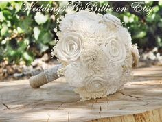 Weddings Bouquets Sola BouquetIvory by WeddingsByBillie on Etsy