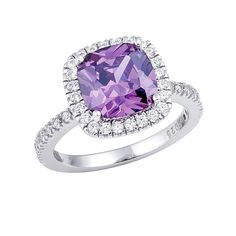 Beautiful AmethystSterlingSilverCushionCut RingSz7 Beautiful Amethyst Birthstone Ring - Excellent Condition Looks Brand New! .925 Sterling Silver, Cubic Zirconia Amethyst Stone, Size 7 Jewelry Rings