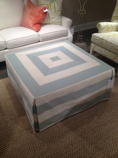 High Point Market 2012-Mitered Ottoman from C. R. Laine...Beachy and Beautiful!