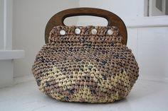 tapestry crochet handbag made from plastic bags