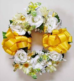 Butterfly Cemetery Wreath - Yellow Grave Flowers, Memorial Flowers, Gerber Daisies, Green Butterfly, Green Accents, Purple Yellow, White Roses, Cemetery, Color Combinations