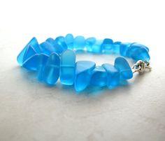 Seaglass Sea Glass Bracelet Aqua Blue by BellinaCreations on Etsy, $40.00