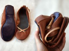 The Pomegranate - Handmade Leather ballet flat shoes.