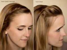 Hair and Make-up by Steph: Fifteen Ways to Pin Back your Bangs: Twist Down the Side; Twist Braid