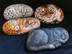 How to Paint Rocks   Rock painting Big cats in group