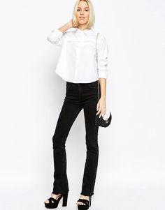 Image 4 ofASOS White Ruffle Front Shirt