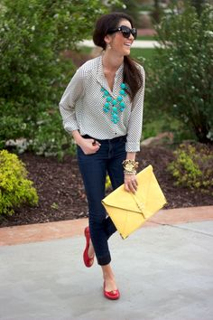 Capped jeans, red flats, grey blouse, statement necklace, chunky watch, sunglasses, teased pony, yellow envelope bag <3