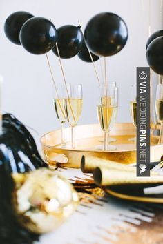 Yes - Gold accents and black balloon drink stirrers! | CHECK OUT SOME COOL SHOTS OF NEW WEDDING TRENDS 2016 AT WEDDINGPINS.NET | #weddingtrends2016 #trendywedding #new #2016 #weddings #weddingvows #vows #tradition #nontraditional #events #forweddings #iloveweddings #romance #beauty #planners #fashion #weddingphotos #weddingpictures