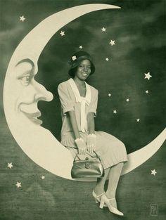 1930s black girl in the moon. African American vintage look