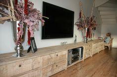 Steigerhouten tv-meubel mega | groot tv-meubel | de Steigeraar Woodworking Project Plans, House Design, Interior, T Home, Home, Asian Furniture, Home Improvement, Framed Tv, Tv Room