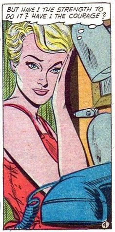 "Comic Girls Say.. "" But have I the strength to do it ? Have I the courage ? ' #Vintage #Comic #PopArt"