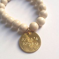 White Fossil Beaded Bracelet with Handstamped Charm